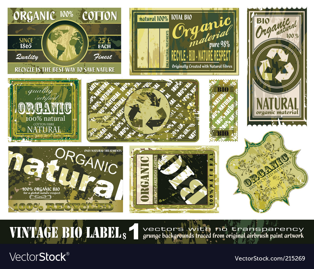 Vintage bio labels collection set vector | Price: 3 Credit (USD $3)