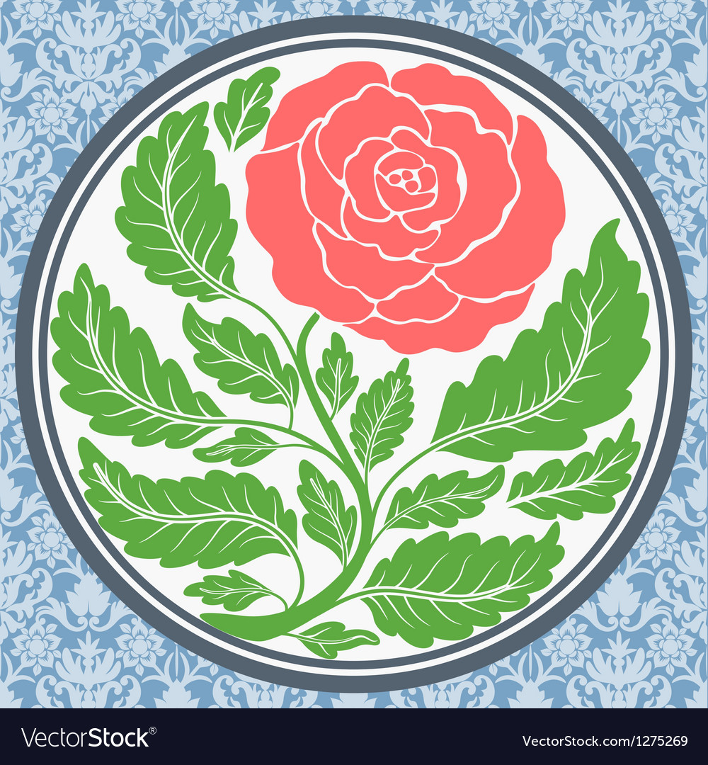 Vintage rose in round frame vector | Price: 1 Credit (USD $1)