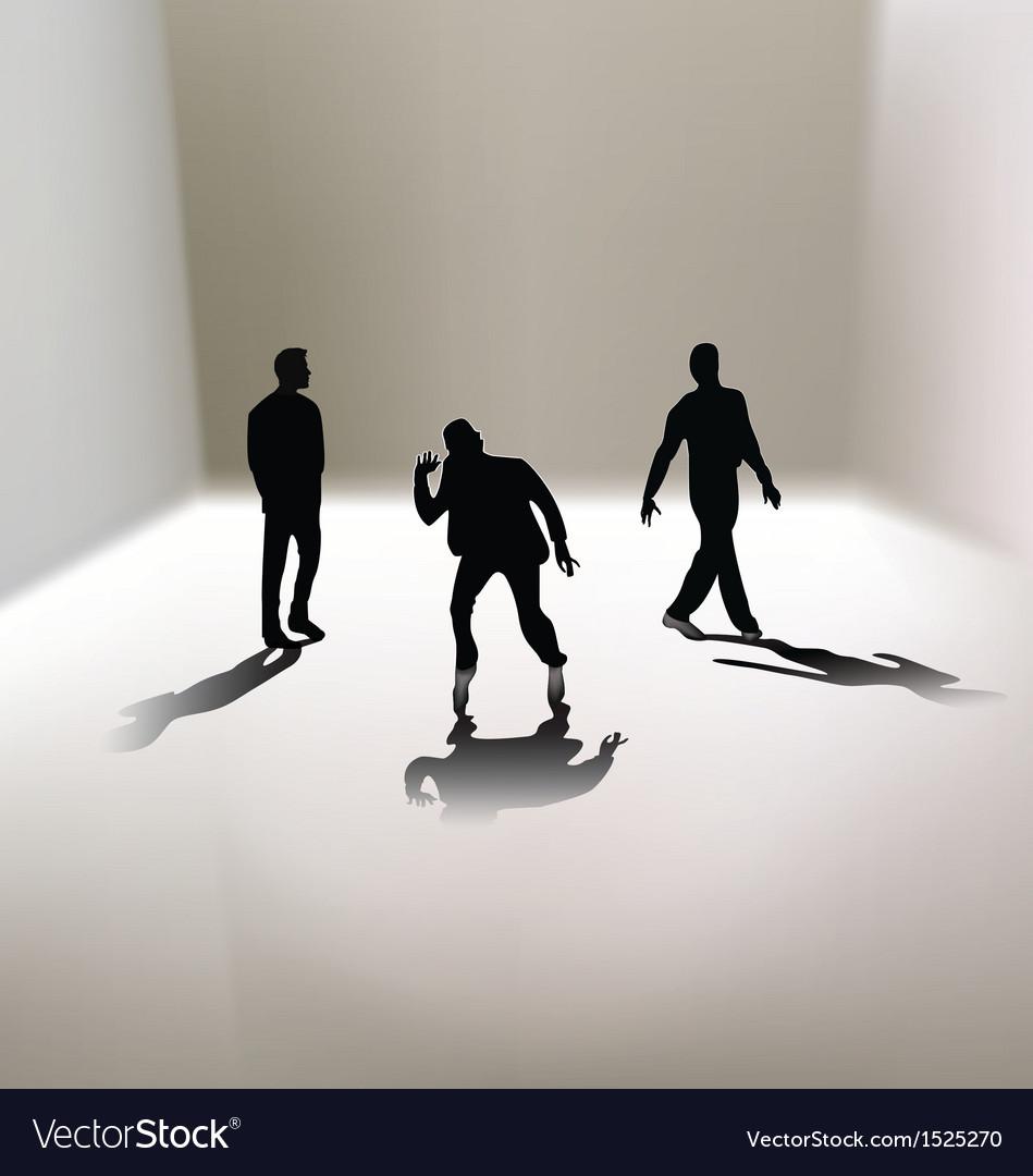 3 men silhouettes vector | Price: 1 Credit (USD $1)