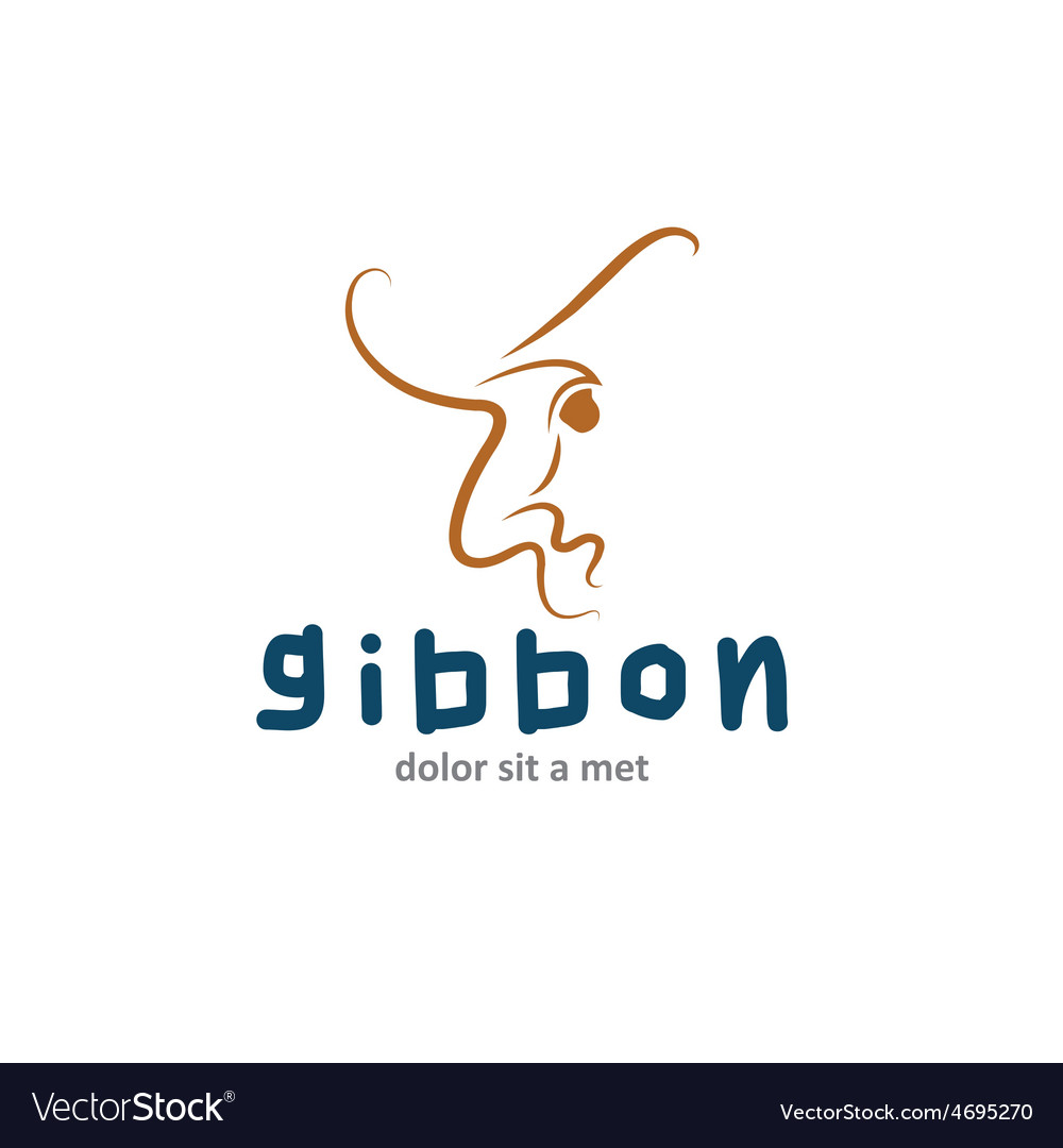 Gibbon outline vector | Price: 1 Credit (USD $1)
