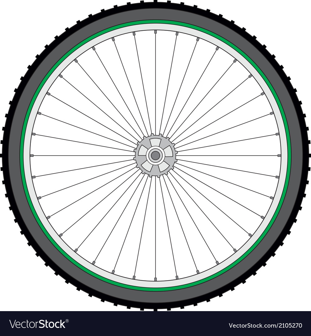 Mountain bicycle wheel on a white background vector | Price: 1 Credit (USD $1)