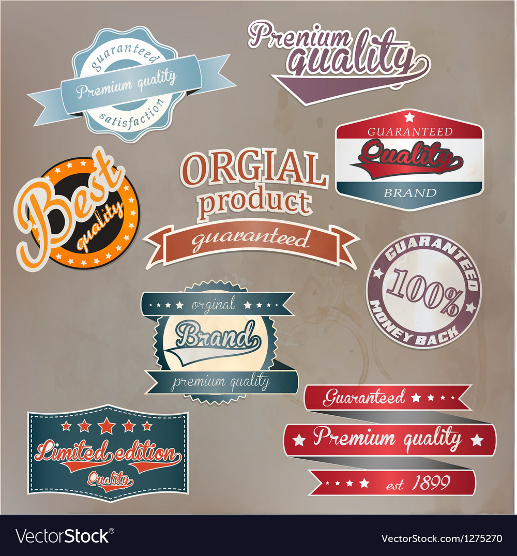 Retro quality labels vector | Price: 3 Credit (USD $3)
