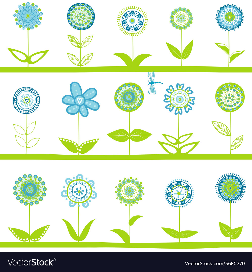 Rows with blue flowers vector | Price: 1 Credit (USD $1)