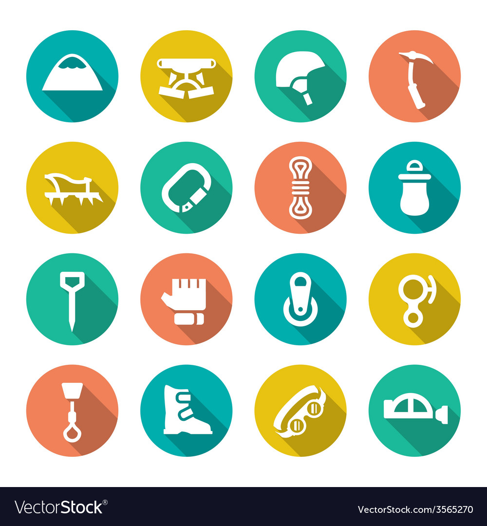 Set flat icons of mountaineering vector | Price: 1 Credit (USD $1)