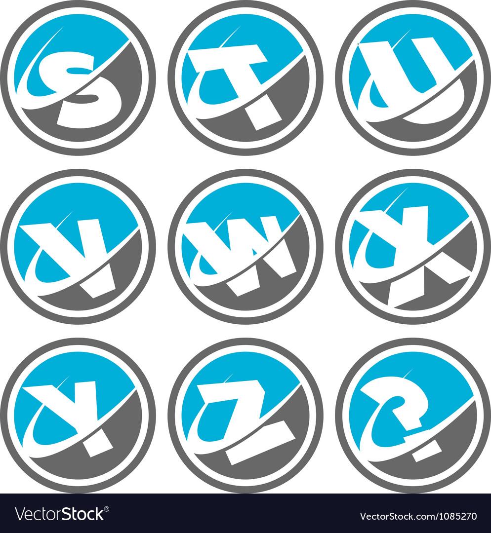 Swoosh alphabet icons set 3 vector | Price: 1 Credit (USD $1)