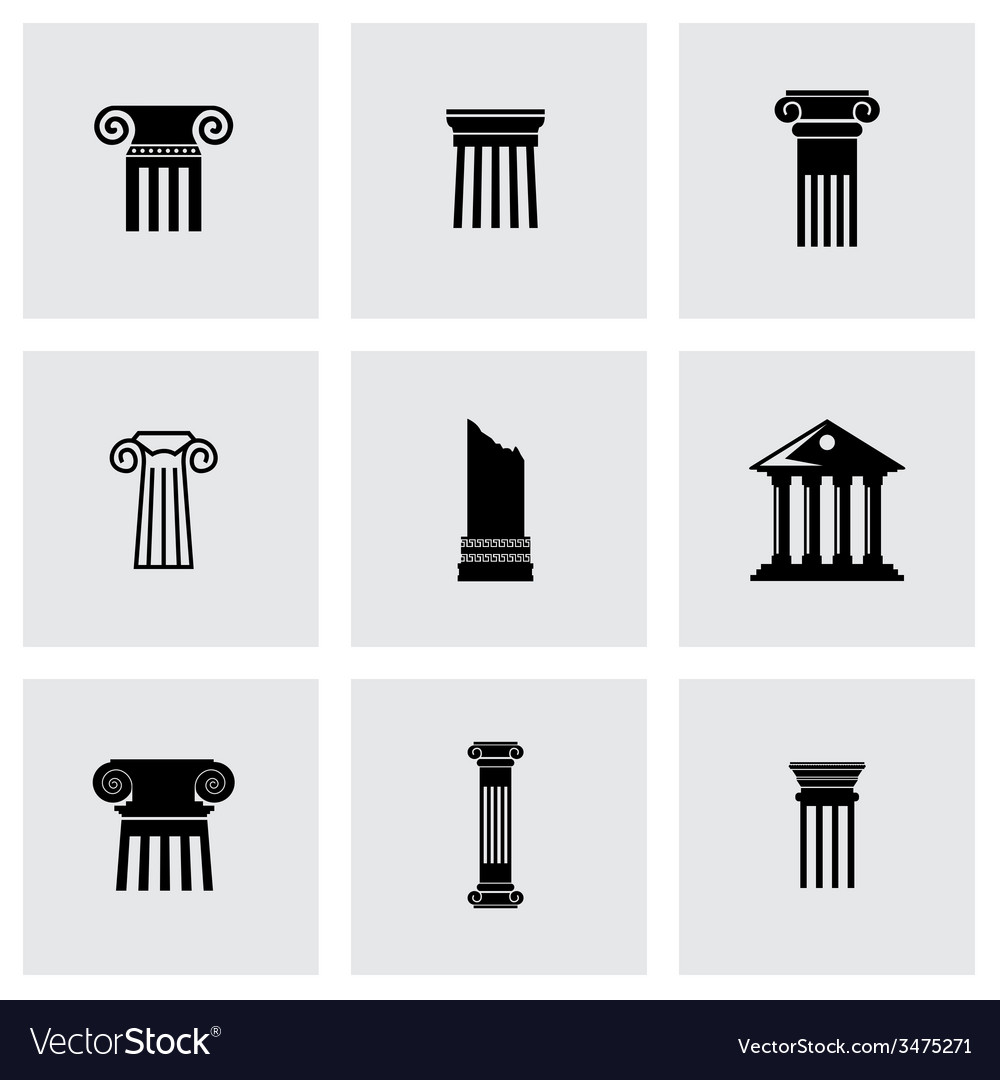 Black column icon set vector | Price: 1 Credit (USD $1)