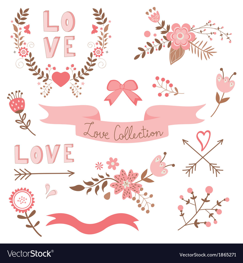 Elegant love collection vector | Price: 1 Credit (USD $1)