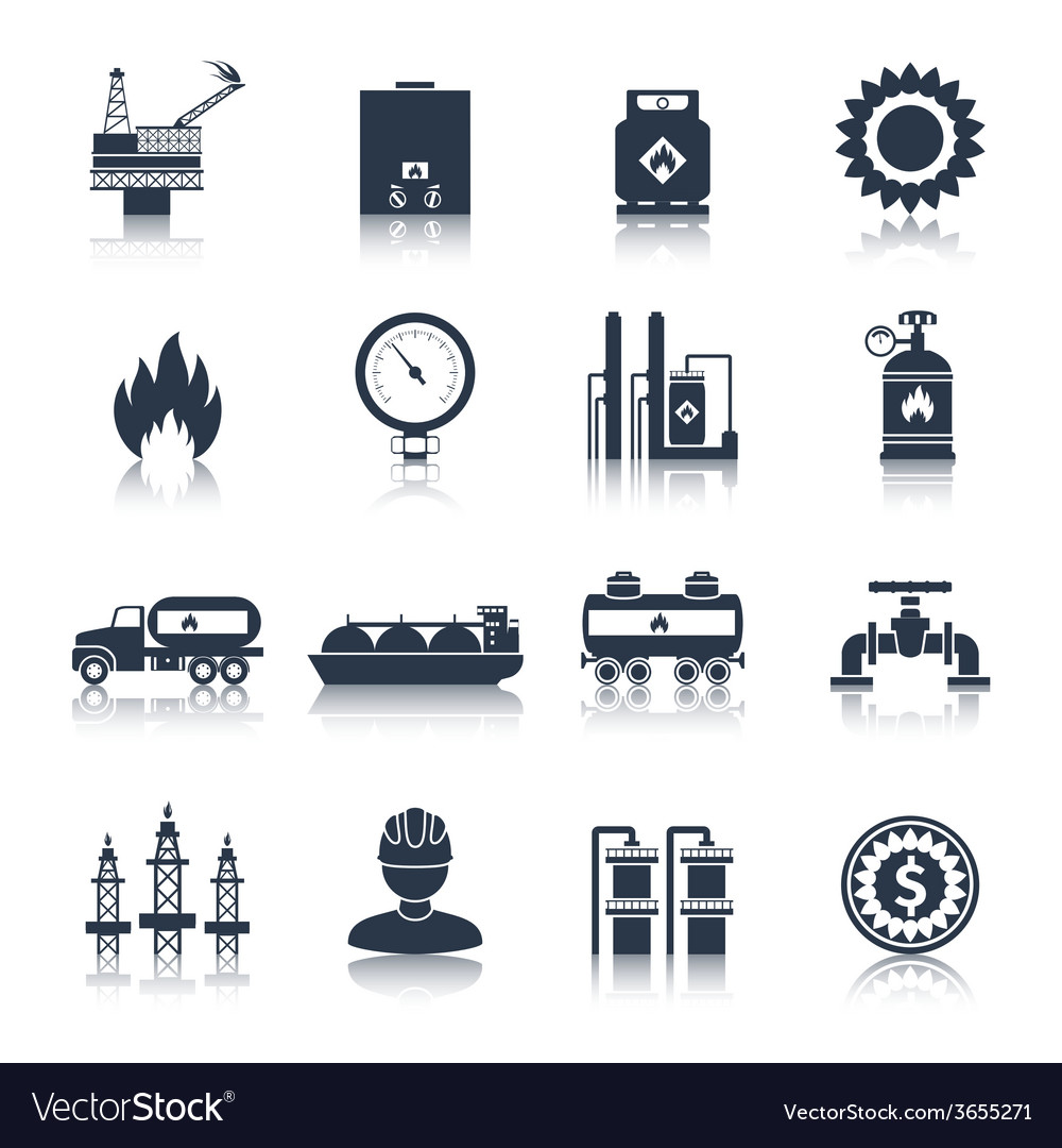 Gas icons black vector | Price: 1 Credit (USD $1)