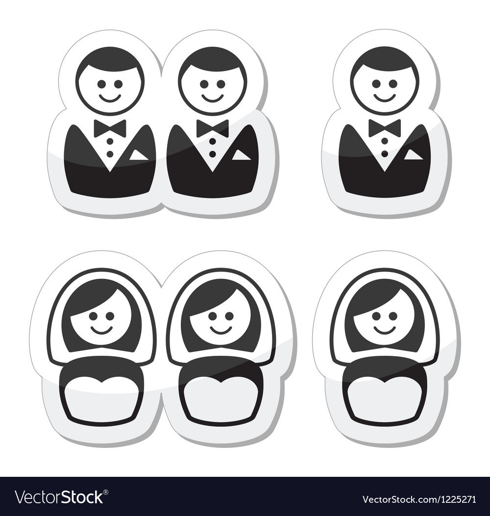 Gay  esbian marriage icons set vector | Price: 1 Credit (USD $1)