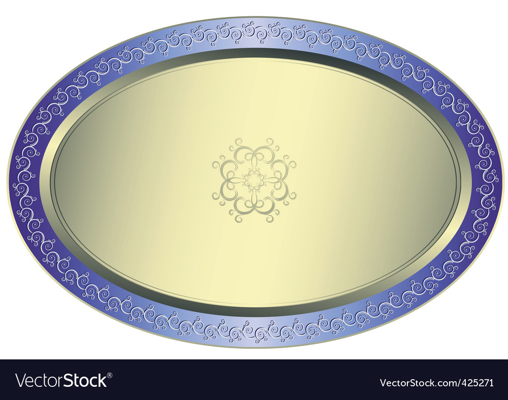 Silvery oval plate vector | Price: 1 Credit (USD $1)