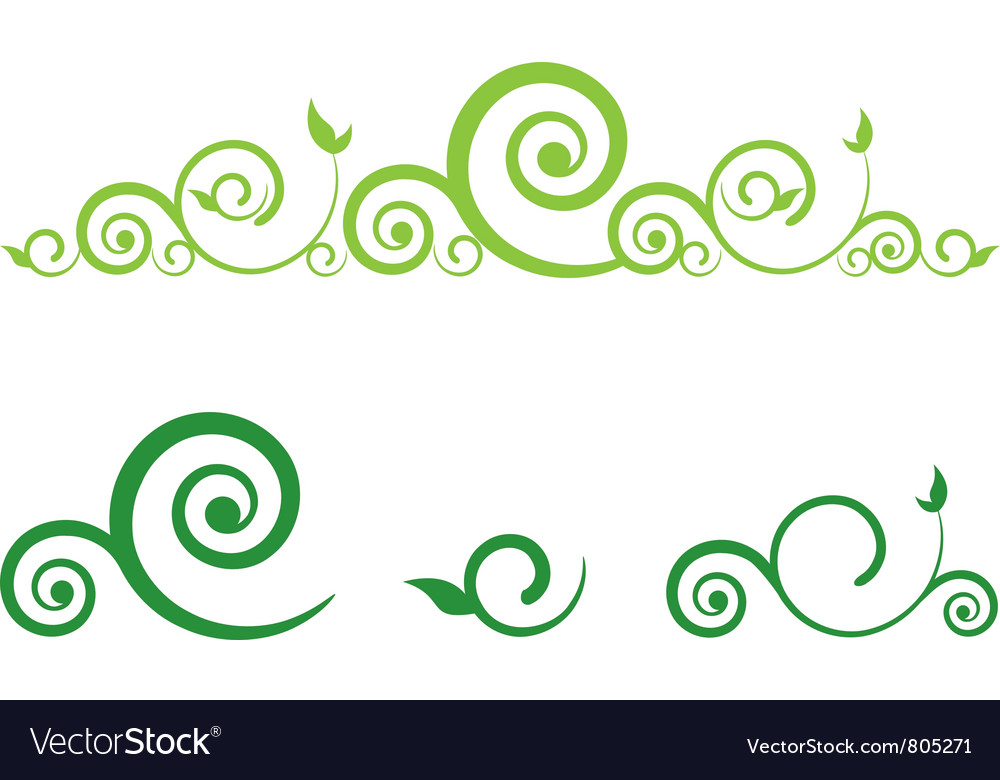 Swirl floral border vector | Price: 1 Credit (USD $1)
