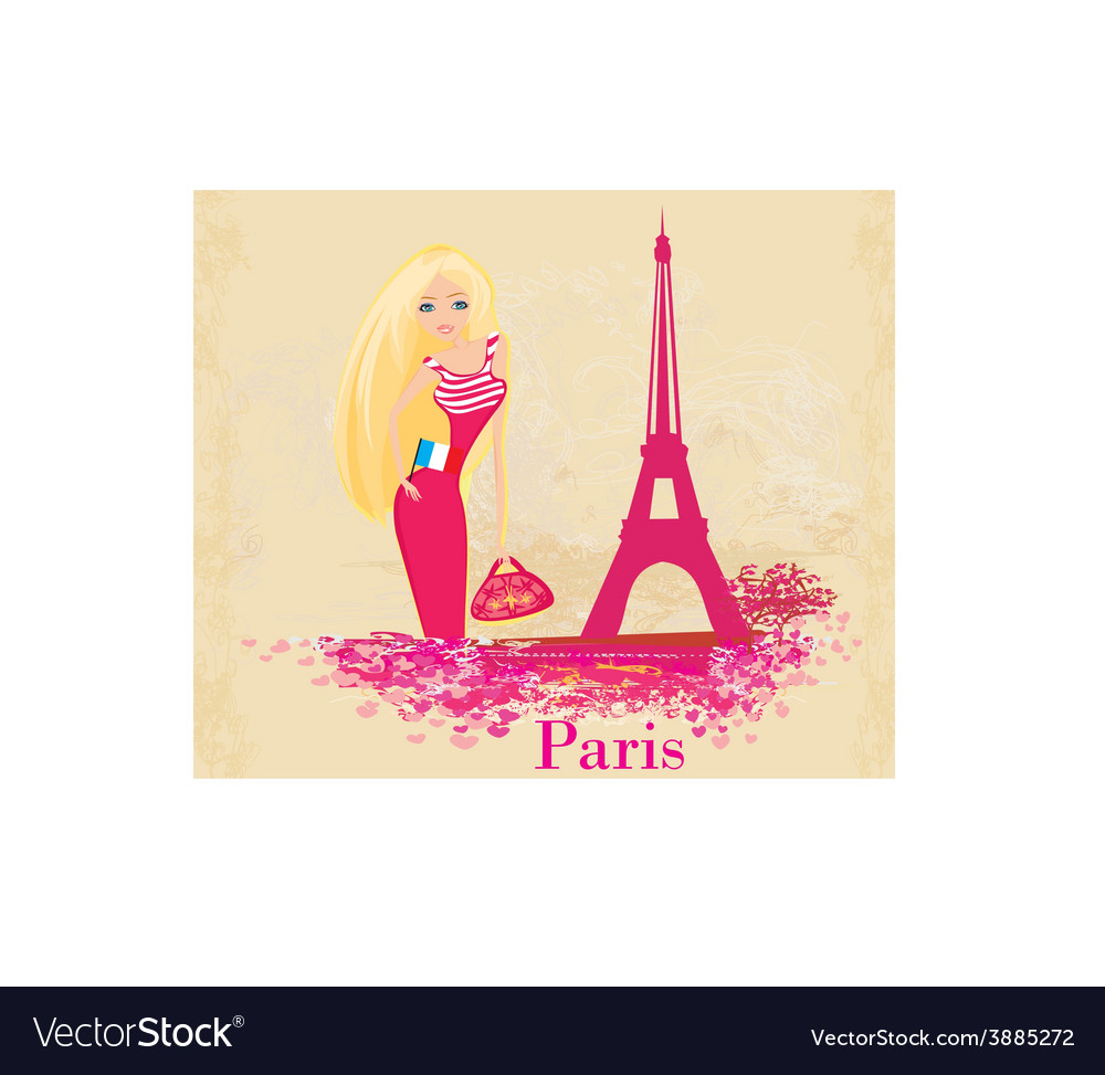 Beautiful women shopping in paris vector | Price: 1 Credit (USD $1)