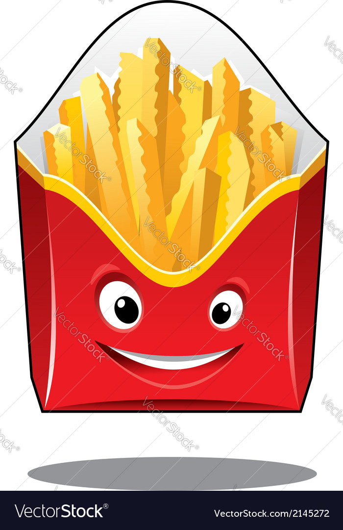 Cartoon french fries in a carton pack vector | Price: 1 Credit (USD $1)