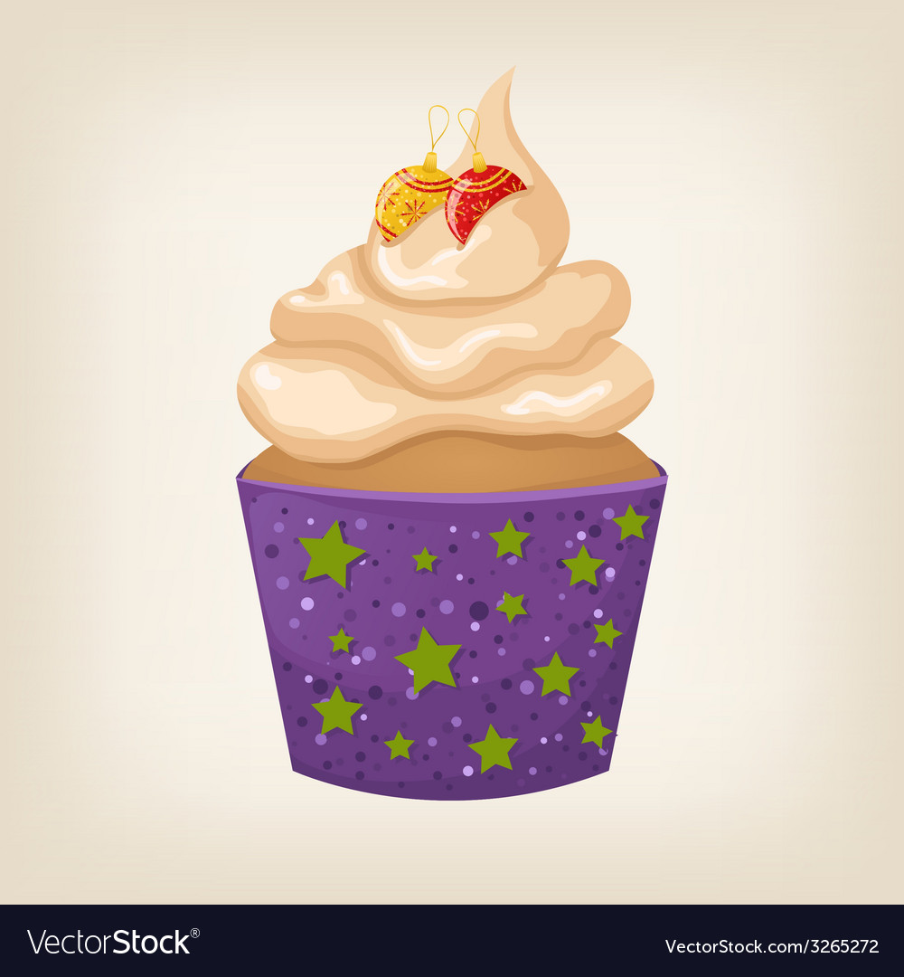 Cute colorful christmas cupcake with decorations vector | Price: 1 Credit (USD $1)