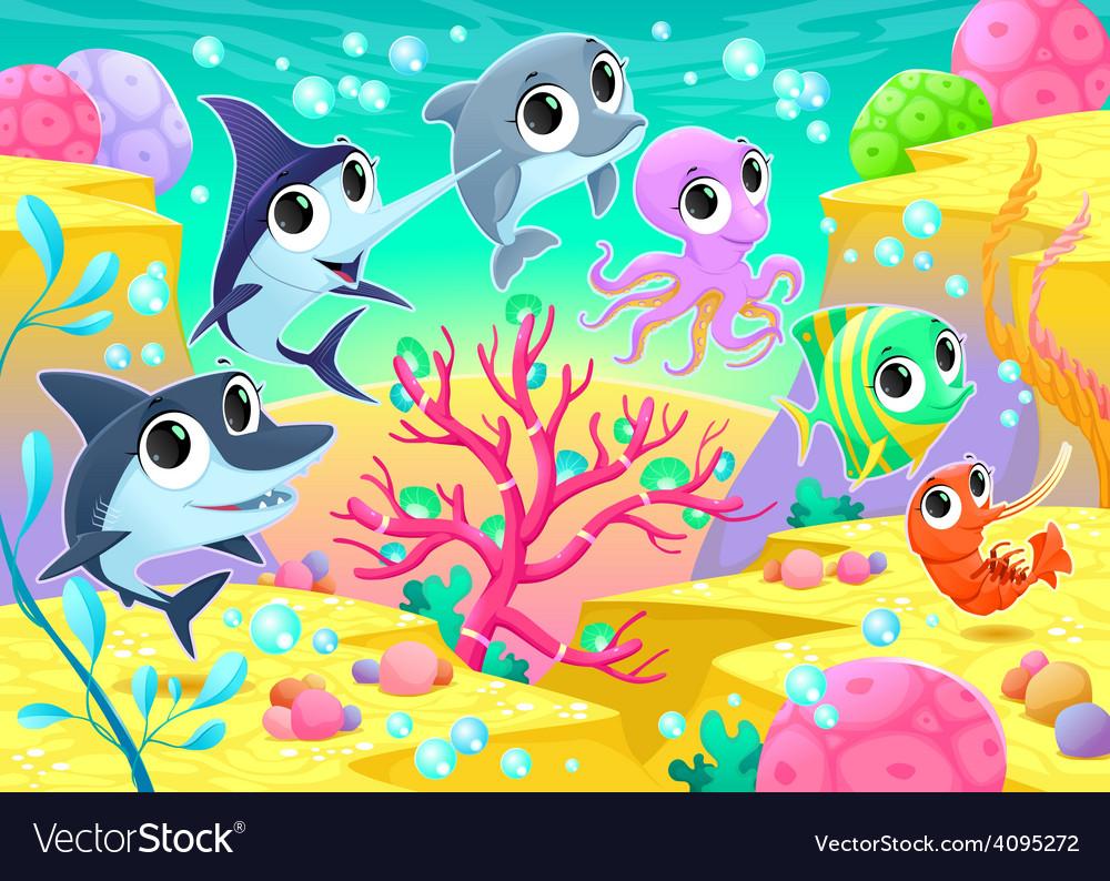 Funny marine animals under the sea vector | Price: 3 Credit (USD $3)
