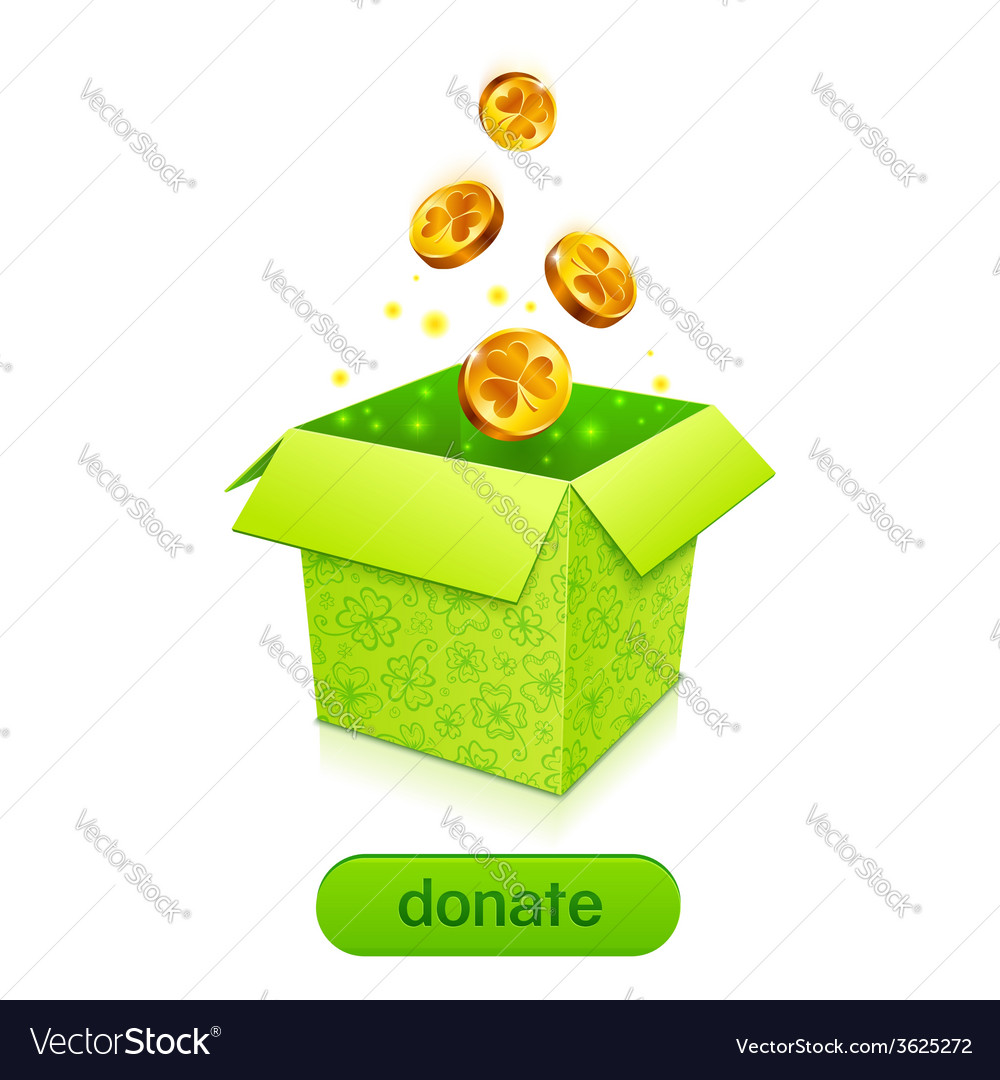 Green donation box with golden fallen coins vector | Price: 1 Credit (USD $1)