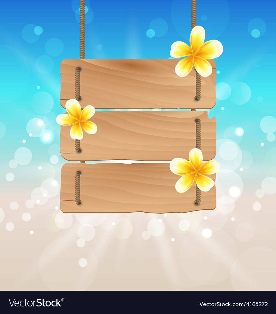 Hanging wooden signboard with tropical flowers vector | Price: 1 Credit (USD $1)