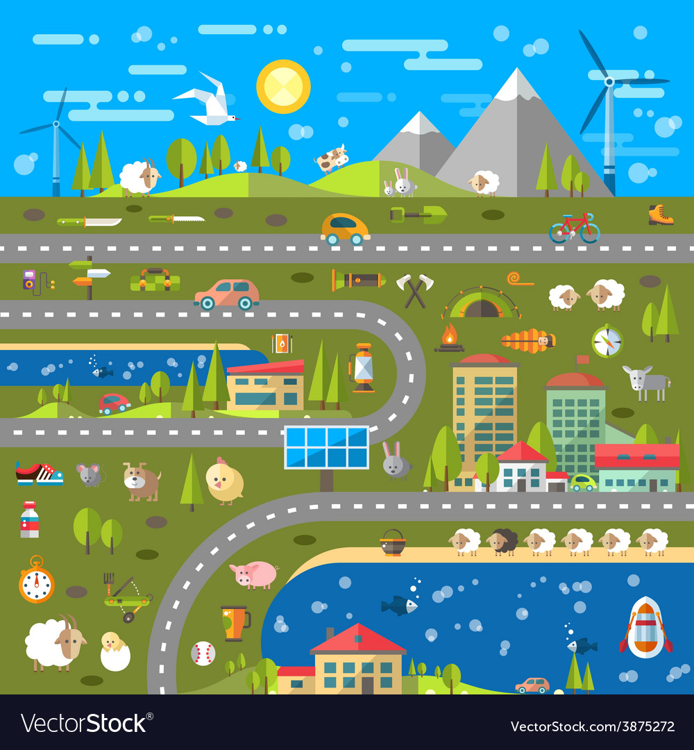 Modern flat design conceptual landscape vector | Price: 3 Credit (USD $3)