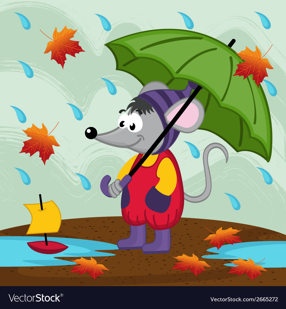 Mouse in rain autumn vector | Price: 1 Credit (USD $1)
