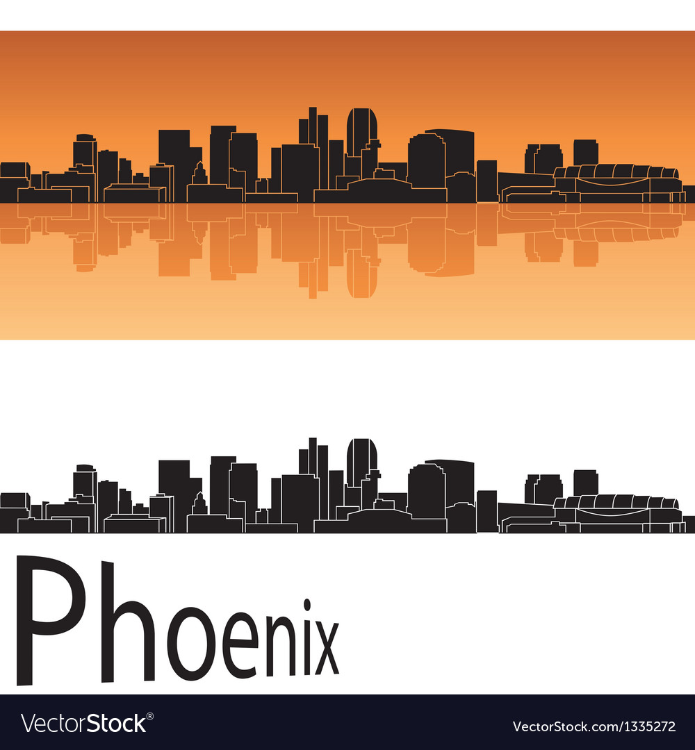 Phoenix skyline in orange background vector | Price: 1 Credit (USD $1)