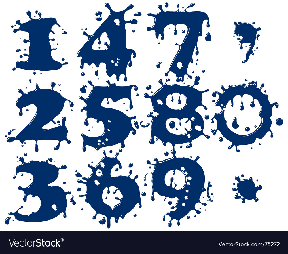 Splash numbers vector | Price: 1 Credit (USD $1)
