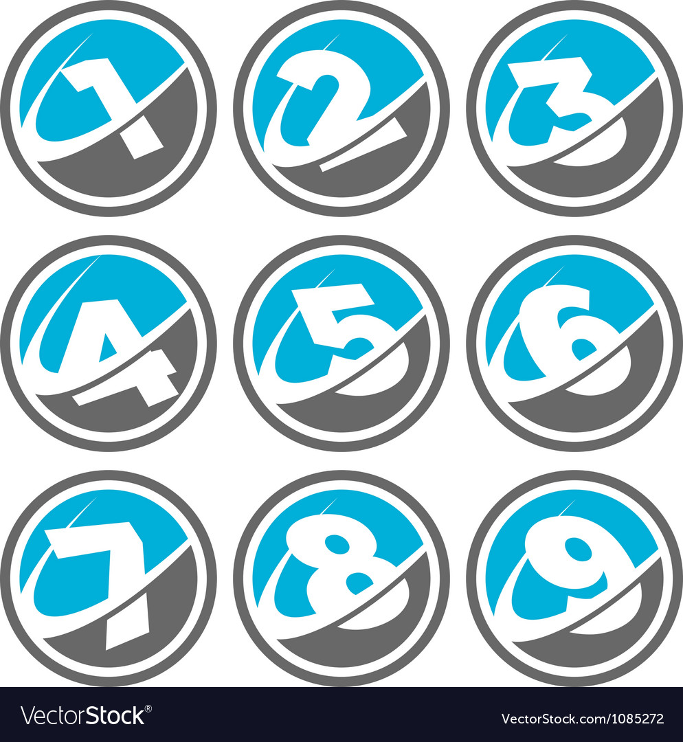 Swoosh number logo icons vector