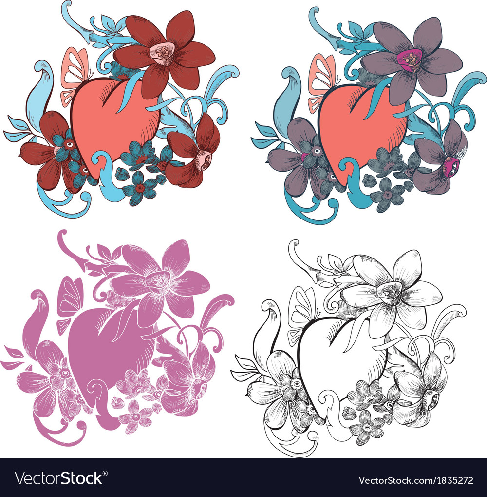Valentine card decor heart with flowers vector | Price: 1 Credit (USD $1)