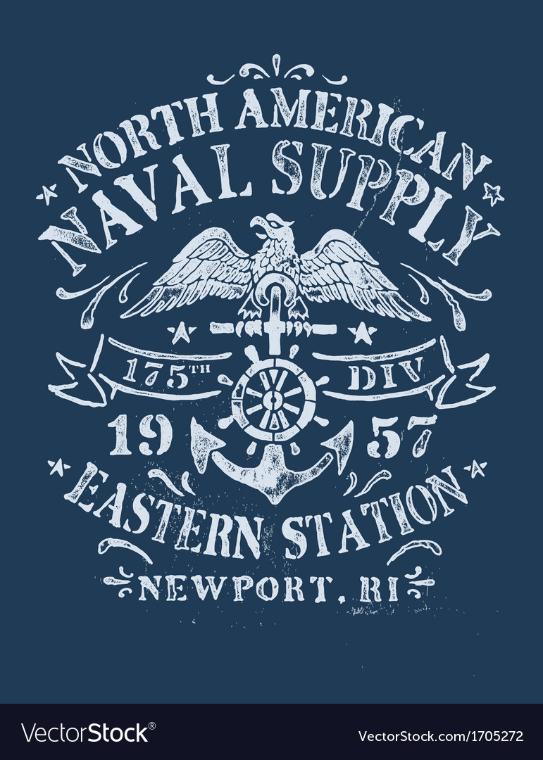 Vintage nautical design for apparel vector | Price: 1 Credit (USD $1)