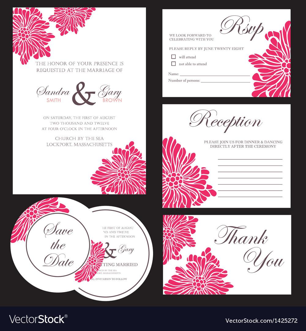 Wedding invitation set vector | Price: 1 Credit (USD $1)