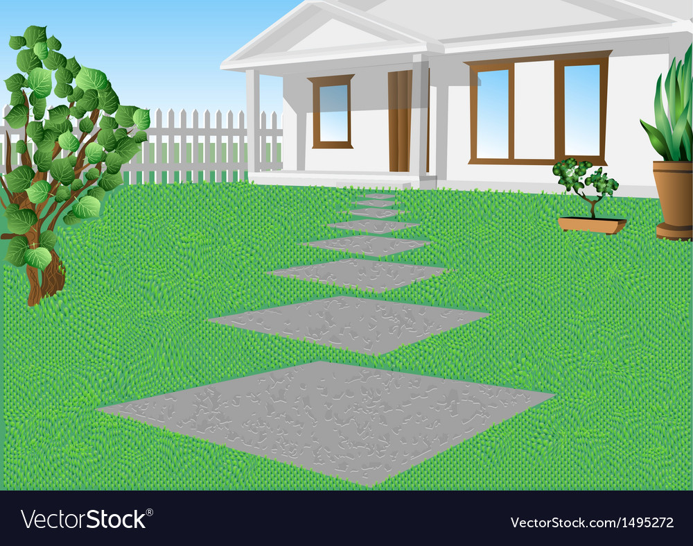 White house on a green lawn vector | Price: 1 Credit (USD $1)