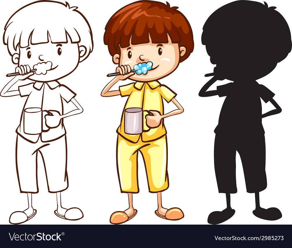 A sketch of a boy toothbrushing in different vector | Price: 1 Credit (USD $1)