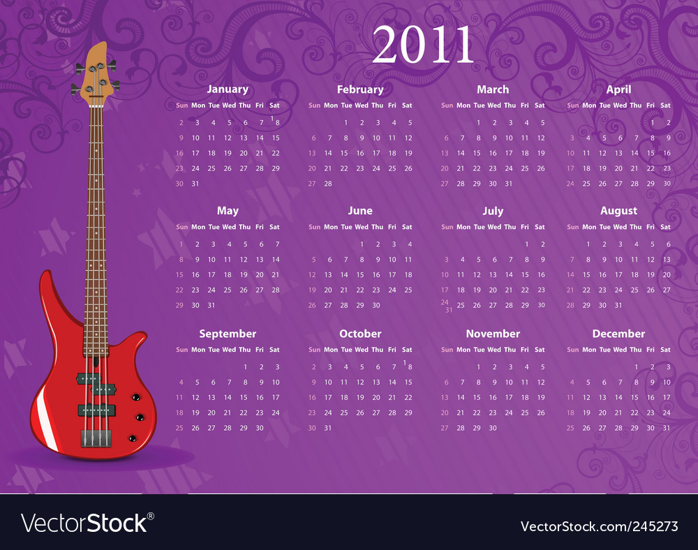 American calendar vector | Price: 1 Credit (USD $1)