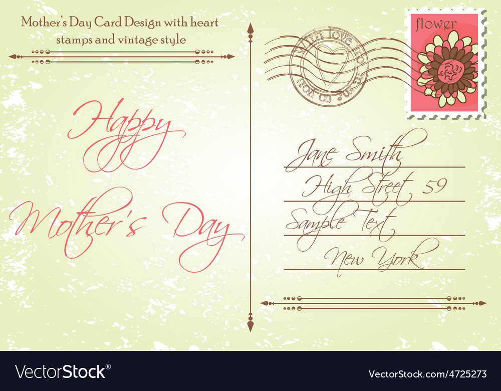 Back of mothers day card in a vintage style vector | Price: 1 Credit (USD $1)
