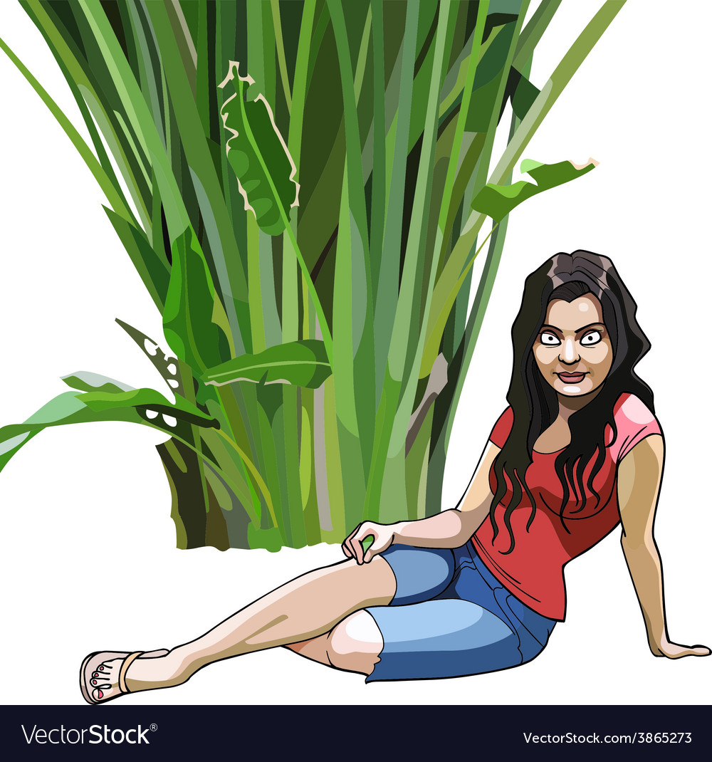 Cartoon girl sits under a green tropical plant vector   Price: 3 Credit (USD $3)