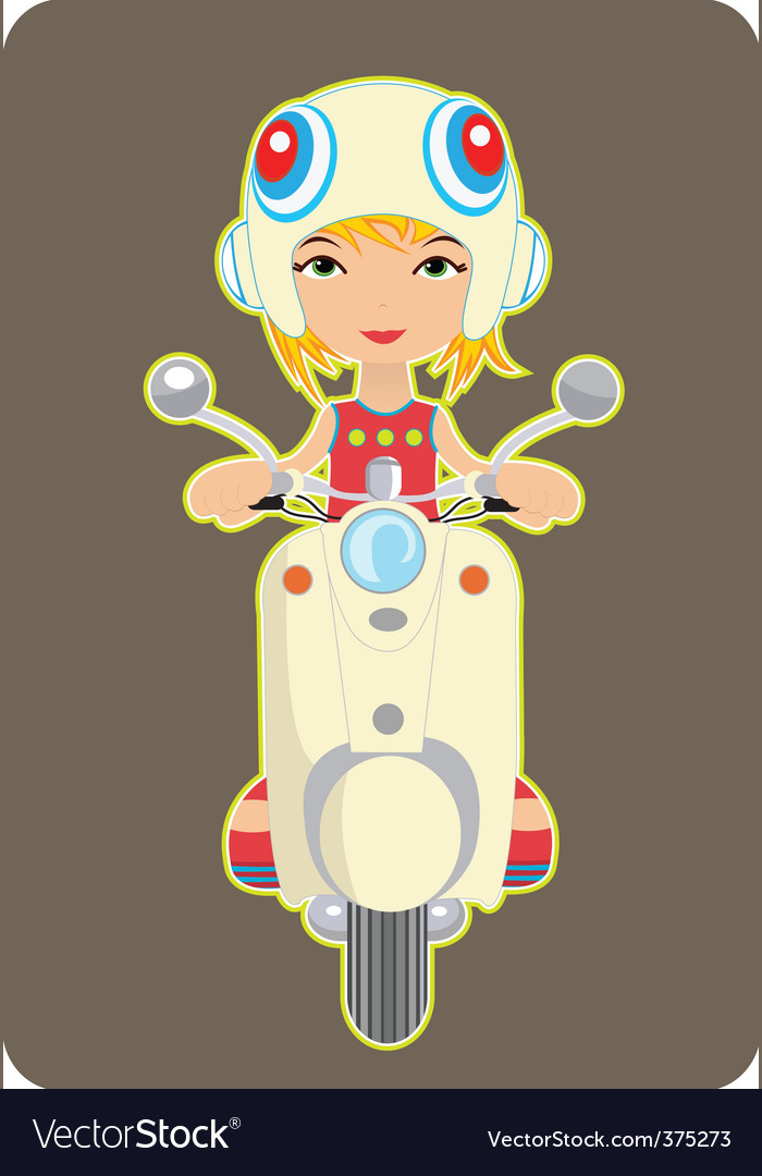 Girl riding a bike vector | Price: 1 Credit (USD $1)