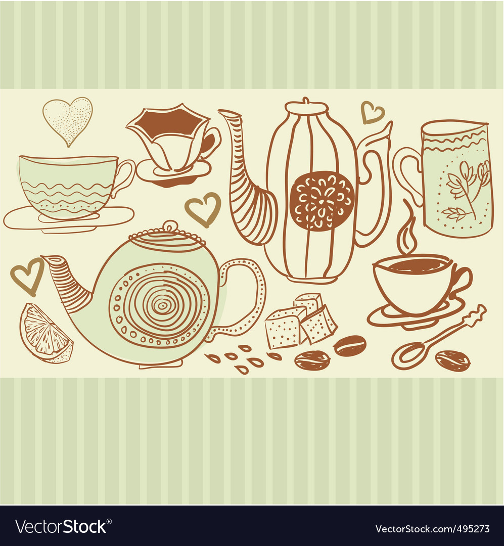 Hand drawn tea and coffee vector | Price: 1 Credit (USD $1)