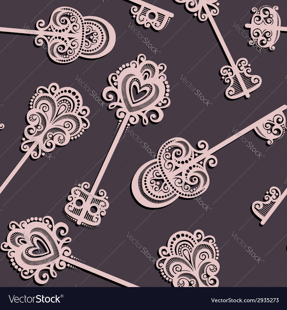 Seamless pattern with keys vector | Price: 1 Credit (USD $1)