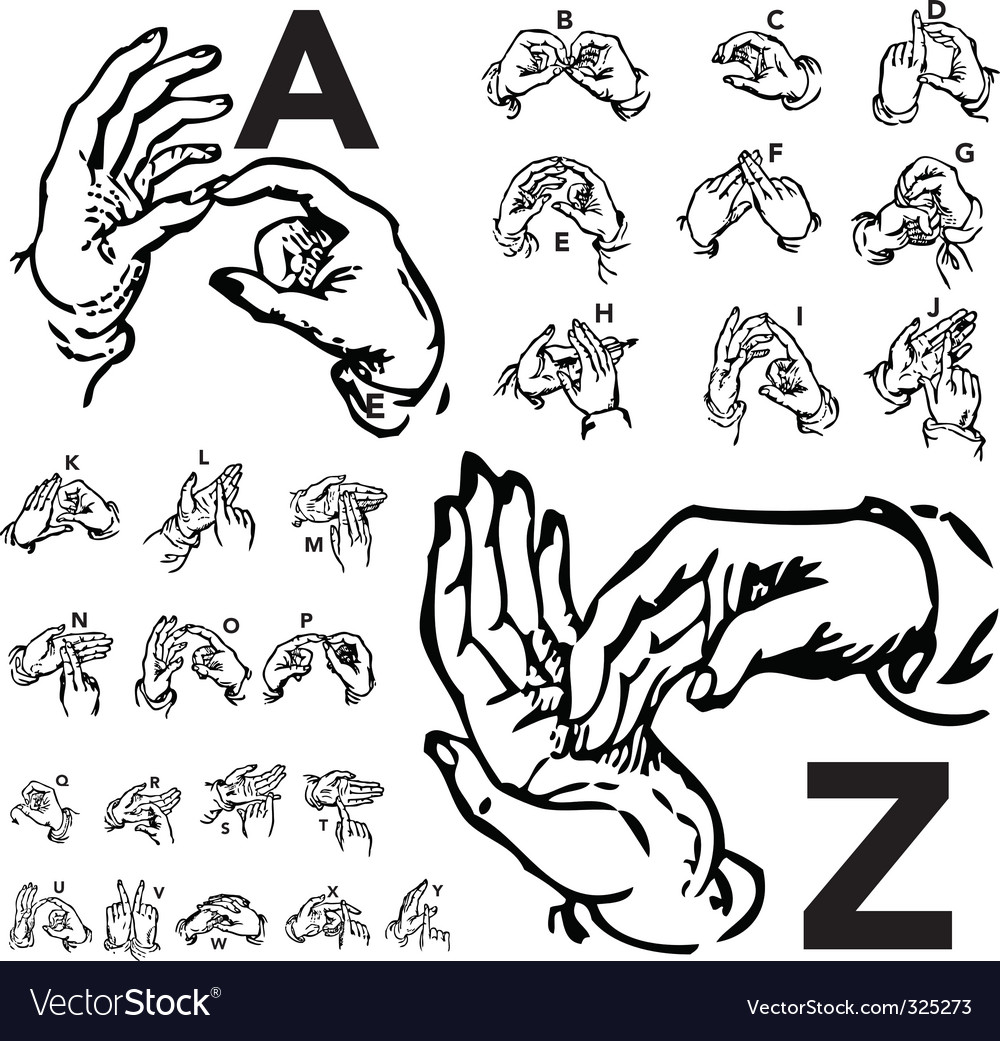 Sign language set woodcut vector | Price: 1 Credit (USD $1)
