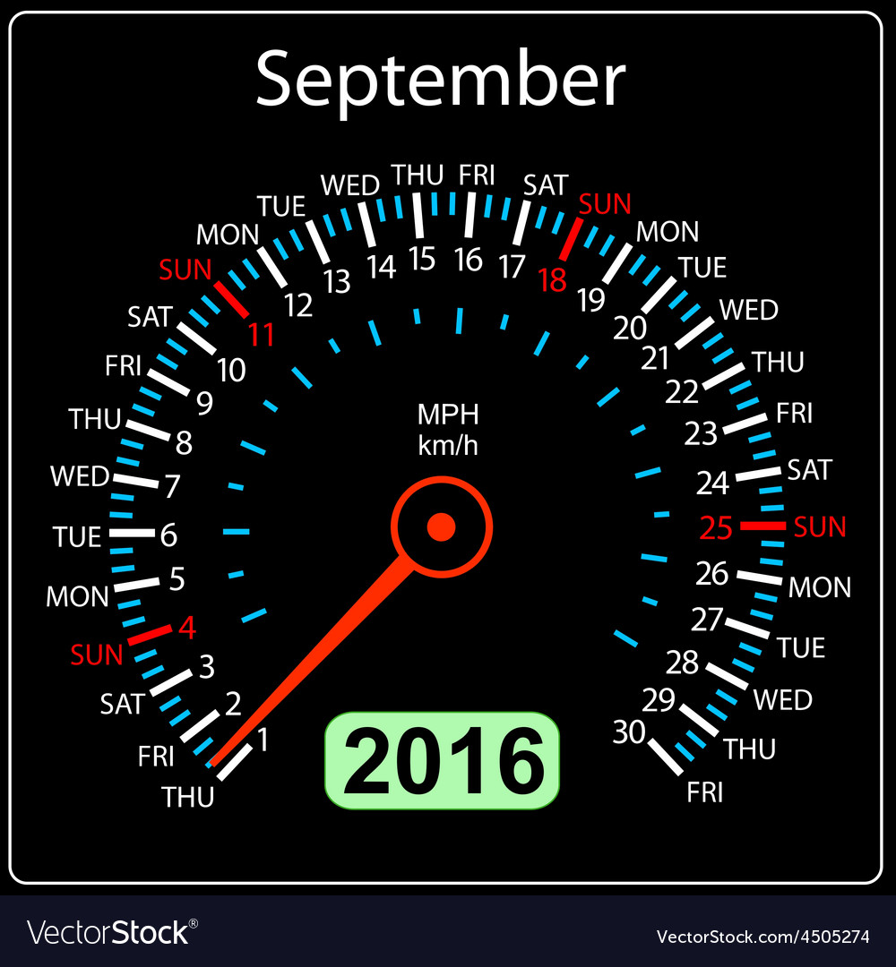 2016 year calendar speedometer car september vector