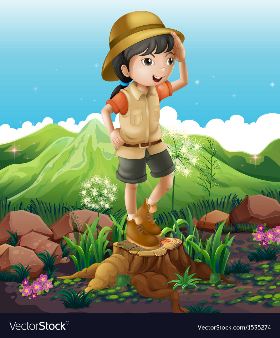 A girl standing above the stump across the vector | Price: 1 Credit (USD $1)
