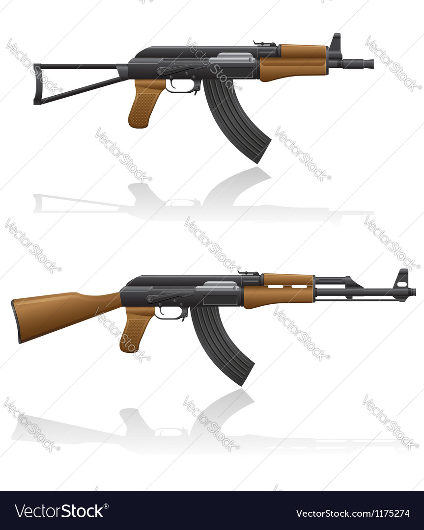 Automatic machine ak 47 03 vector | Price: 1 Credit (USD $1)
