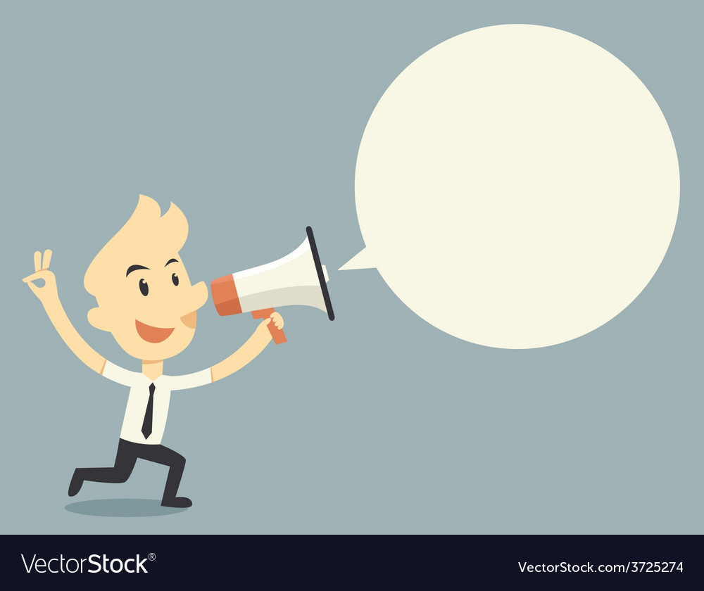 Businessman holding megaphone with bubble speech vector   Price: 1 Credit (USD $1)