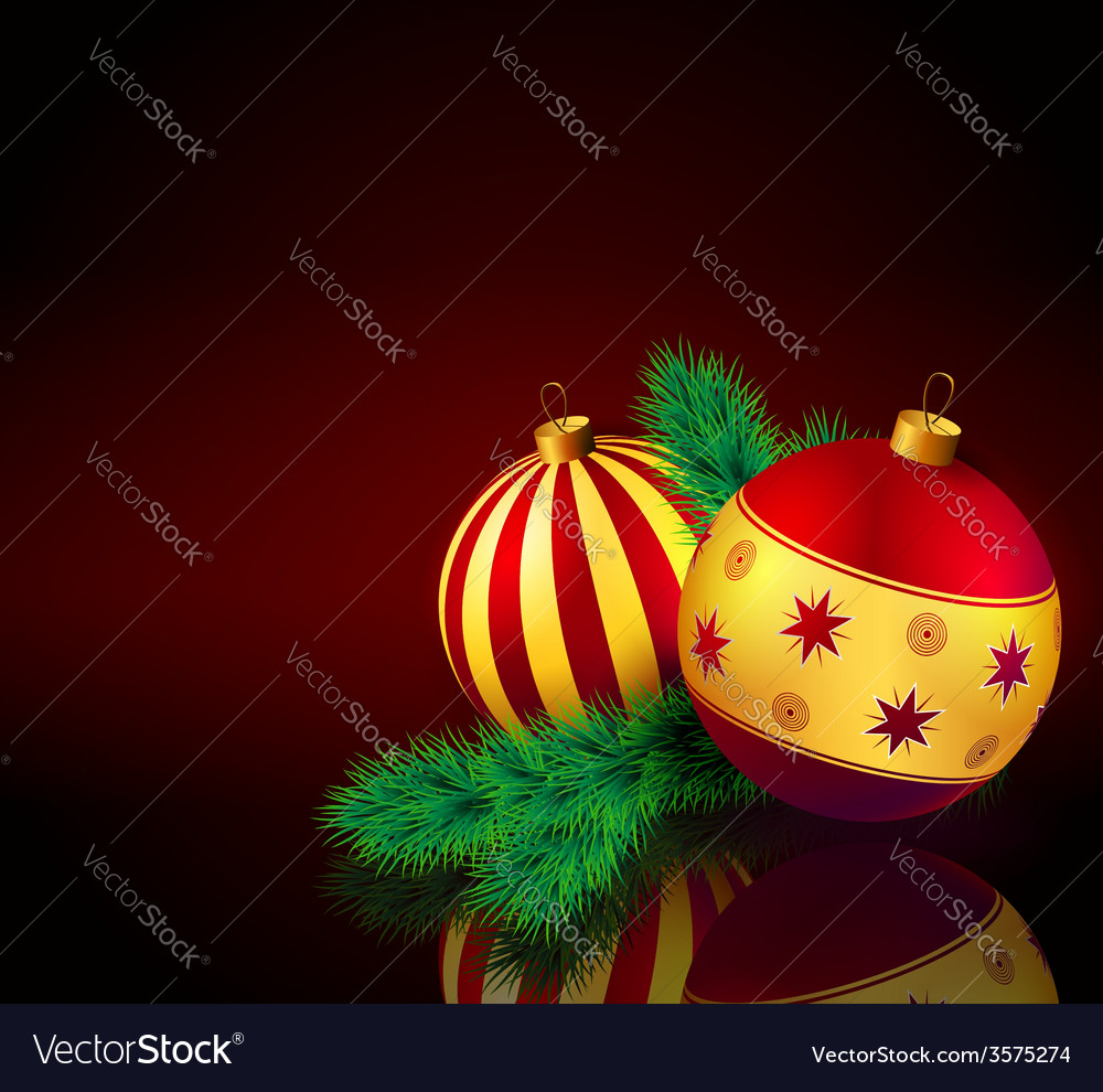 Christmas baubles with fir branch vector   Price: 1 Credit (USD $1)