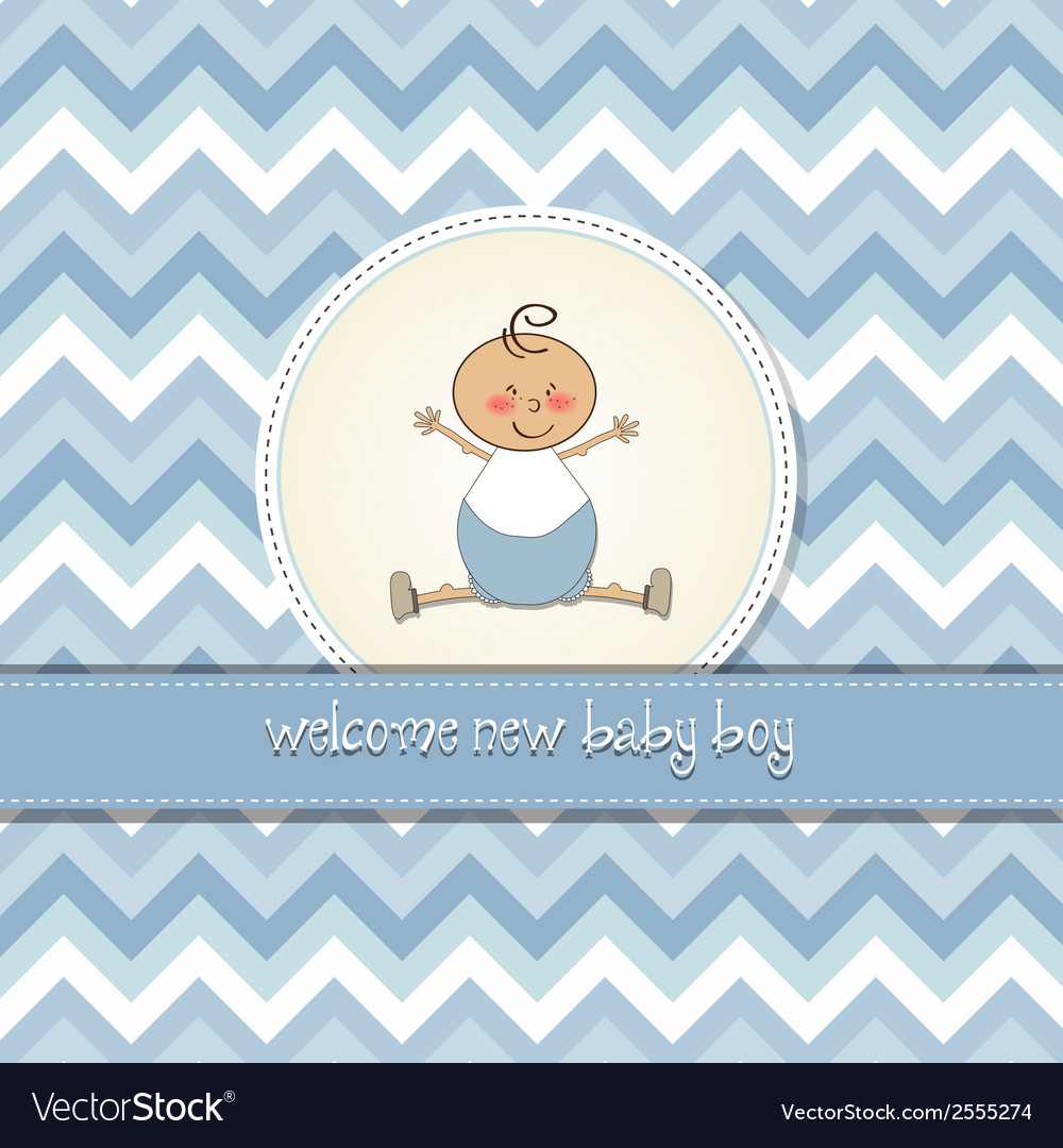 Delicate baby boy shower card vector | Price: 1 Credit (USD $1)