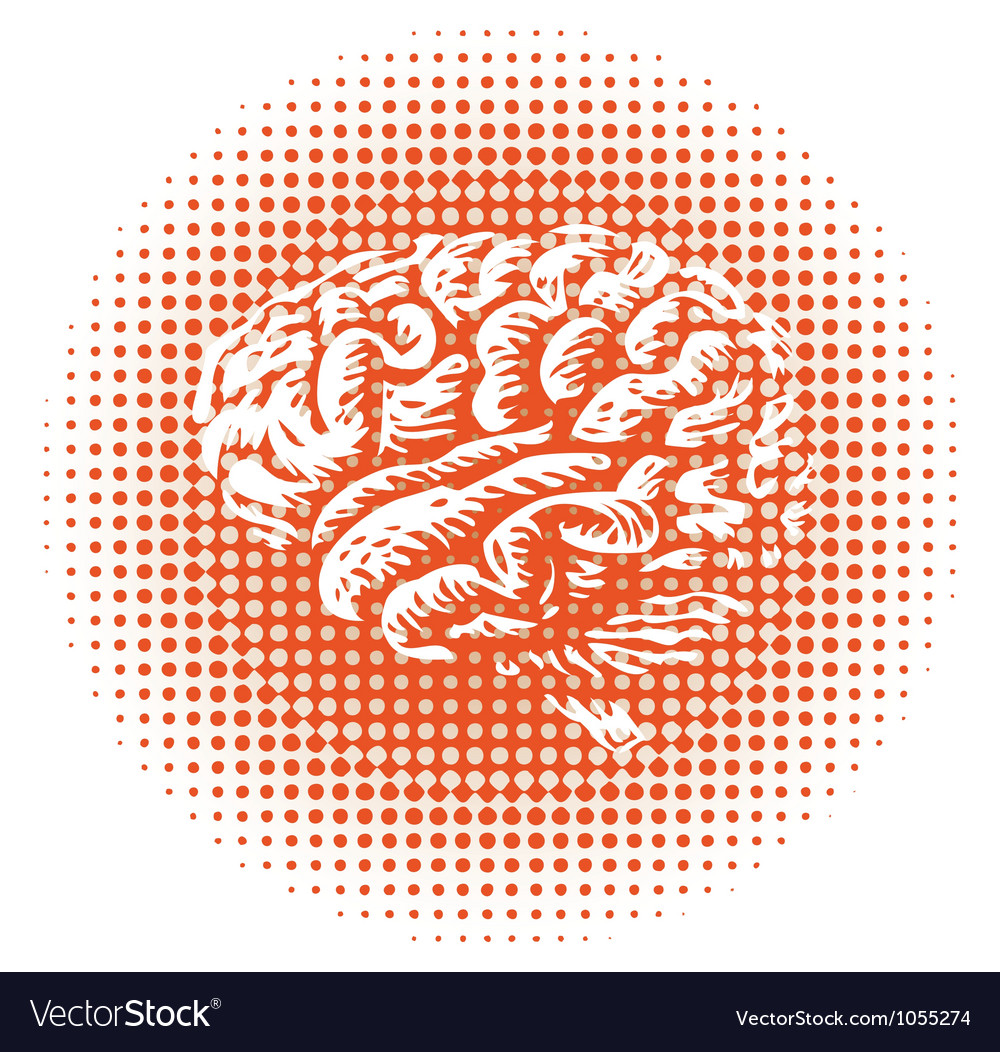 Halftone brain vector | Price: 1 Credit (USD $1)
