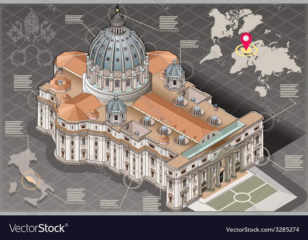 Isometric infographic of saint peter of vatican vector | Price: 3 Credit (USD $3)