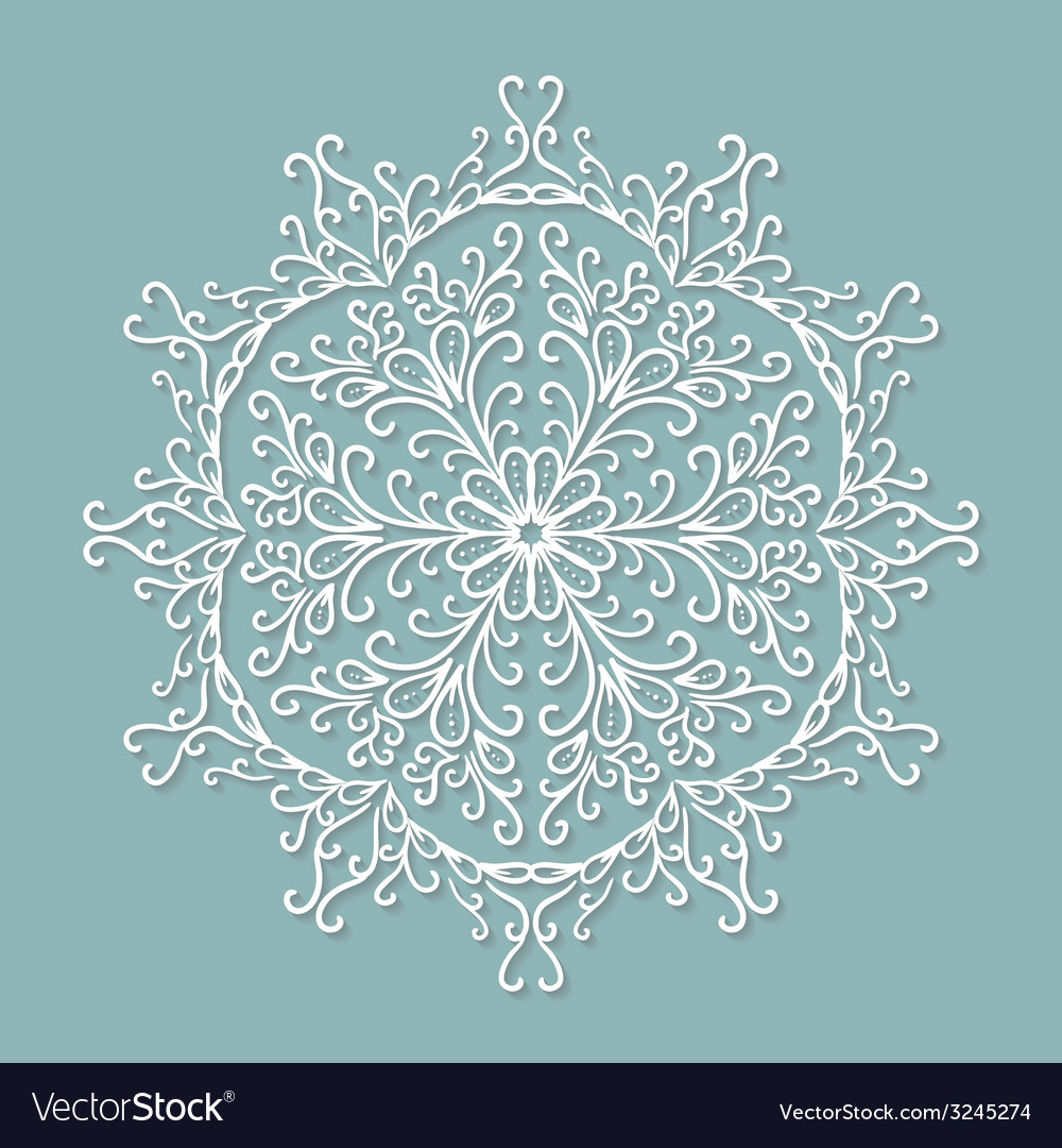 Paper lace doily decorative snowflake round vector | Price: 1 Credit (USD $1)