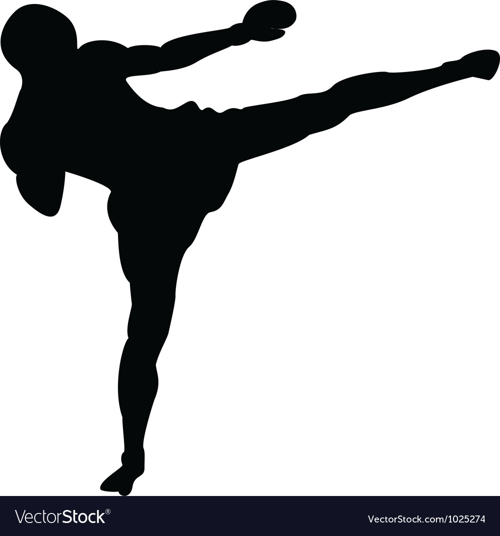 Roundhouse kick outline vector | Price: 1 Credit (USD $1)