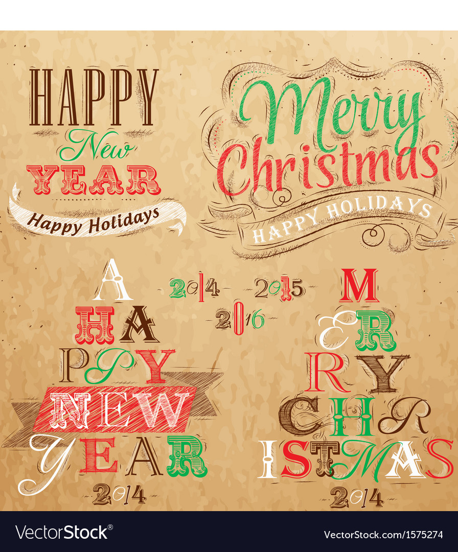 Set merry christmas happy kraft color vector | Price: 1 Credit (USD $1)