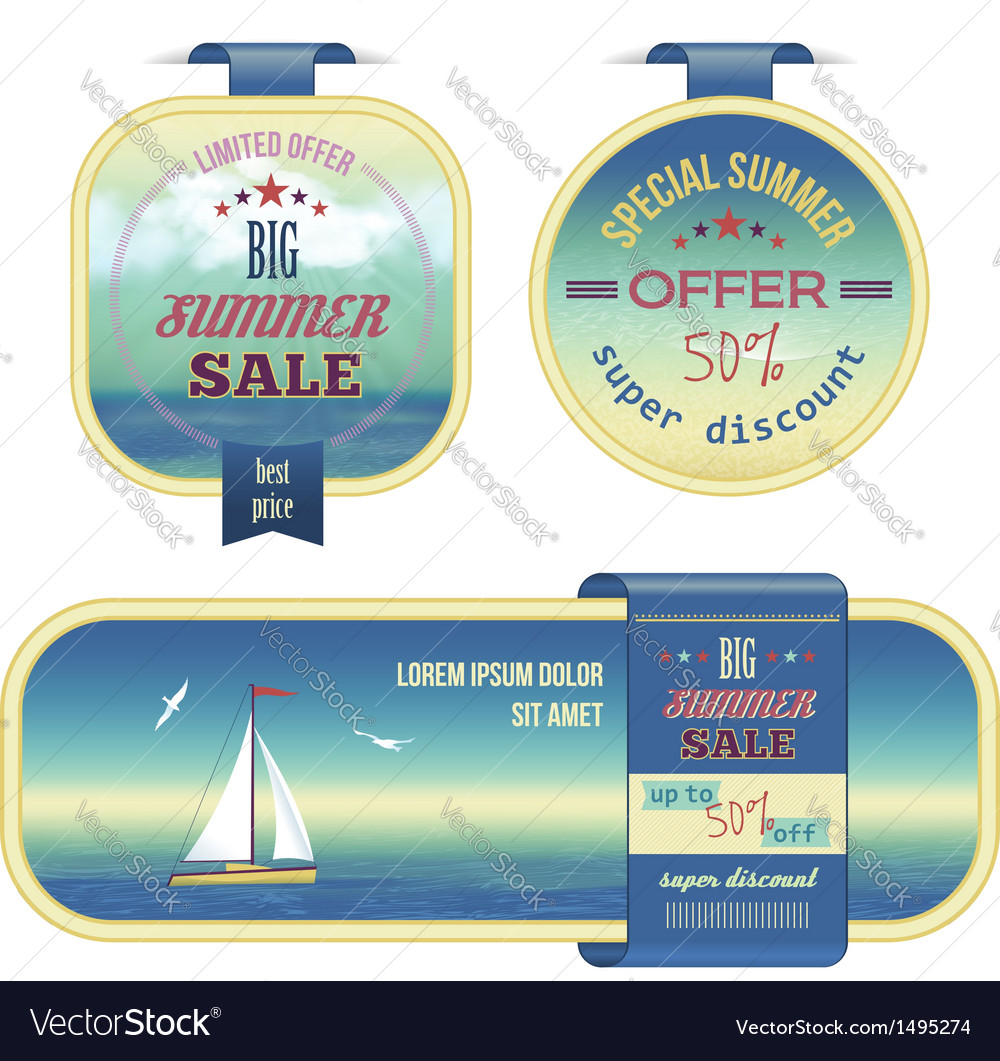 Set of summer sale labels tags stickers banners vector | Price: 3 Credit (USD $3)